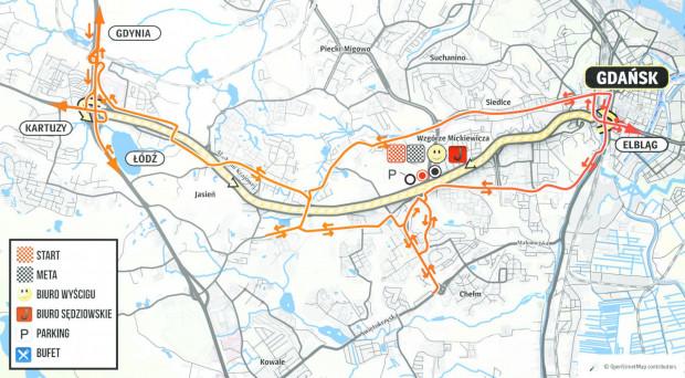 Na czas wyścigu cała al. Armii Krajowej (żółty) zostanie wyłączona z ruchu.
