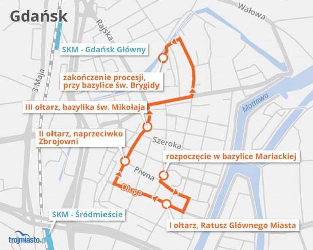 Centralna procesja Bożego Ciała Archidiecezji Gdańskiej rozpocznie się o godz. 10 w bazylice Mariackiej.