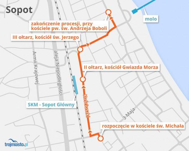 Trasa procesji w Sopocie, która rozpoczyna się o godz. 9.