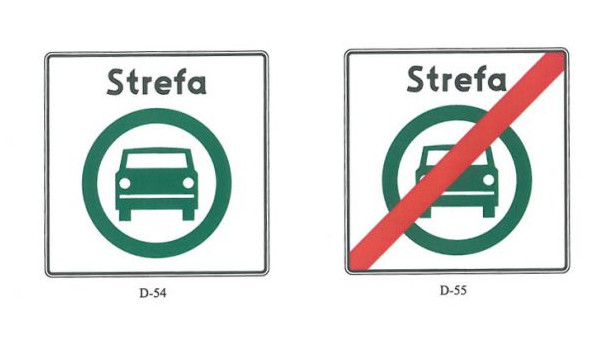 Nowe znaki informujące o początku i końcu strefy czystego transportu.