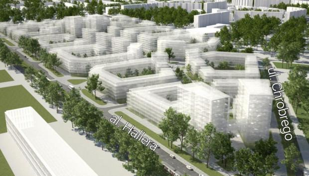 Potencjalna forma zabudowy na terenie zajezdni przy al. Hallera.
