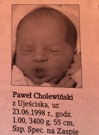 Paweł w dniu narodzin, w szpitalu na Zaspie. Zdjęcie wykonał fotoreporter Dziennika Bałtyckiego.