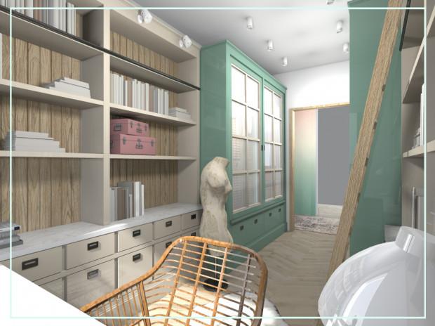 Po prawej i lewej stronie od wejścia znalazły się przeszklone witryny, które pełnią role garderoby.