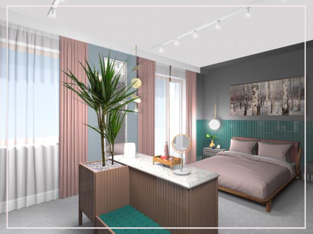 W tej wersji w połączonych dwóch pokojach znalazła się przestrzeń do spania, garderoba i niewielka damska toaletka. Prawdziwy damski buduar.