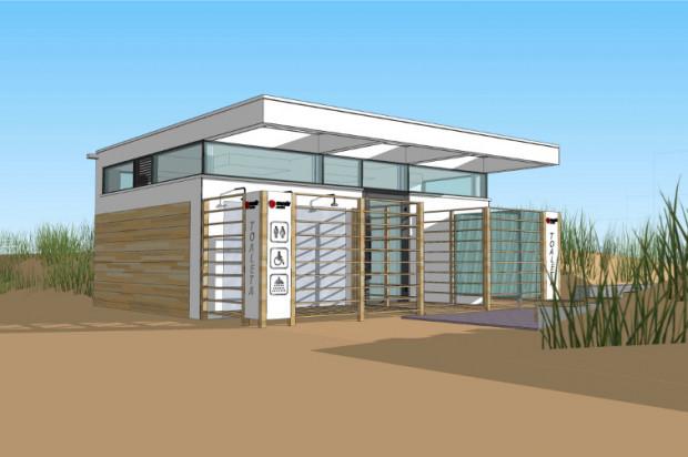 Wizualizacja budynku plażowej toalety...