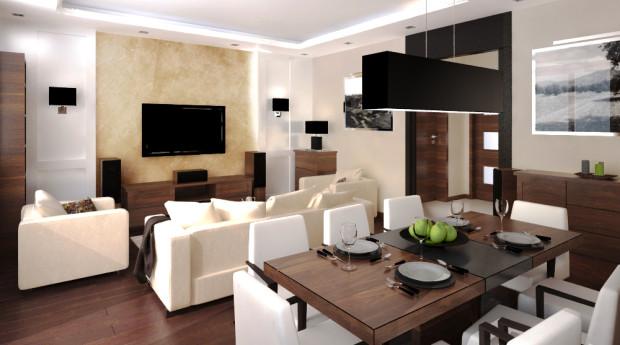 Aranżacja salonu w nowym mieszkaniu Marzeny i Tomka.