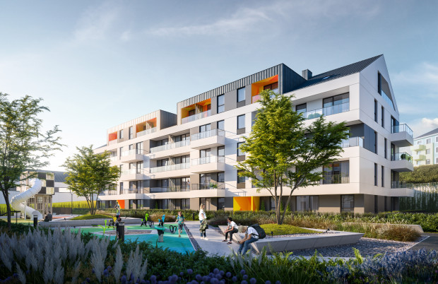 Pomiędzy budynkami osiedla powstaną przestrzenie rekreacyjne dla dorosłych i dzieci.