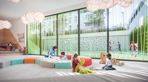 Wewnętrzna sala zabaw to doskonałe miejsce integracji dla dzieci zamieszkałych na osiedlu.