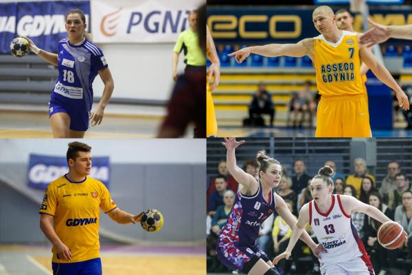 Tak prezentowały się gdyńskie kluby w poprzednim sezonie. Na zdjęciu od góry: Paulina Uścinowicz (GTPR), Krzysztof Szubarga (Asseco), od dołu: Maciej Marszałek (Spójnia), Anna Makurat (Basket 90)