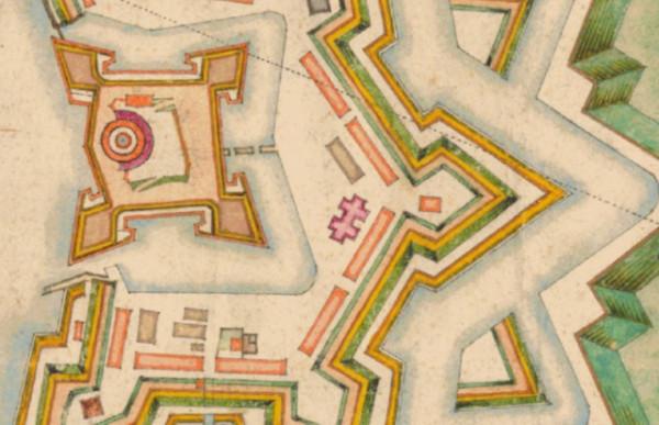 Lokalizacja kościoła św. Olafa na mapie Strakowskiego z 1673 r.