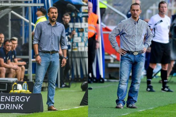 Dariusz Dźwigała (z prawej) już 4 lata temu chciałby, aby Arka Gdynia grała ofensywny futbol, ale wytrwał na stanowisku tylko przez 10 meczów. Teraz podobny pomysł na żółto-niebieskich ma Zbigniew Smółka (z lewej).