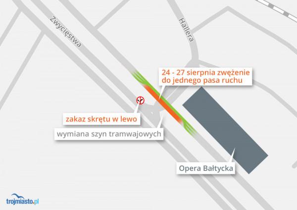 W weekend przy Operze w kierunku Sopotu pojedziemy tylko jednym pasem. Wprowadzony zostanie także zakaz skrętu w lewo w al. Hallera.