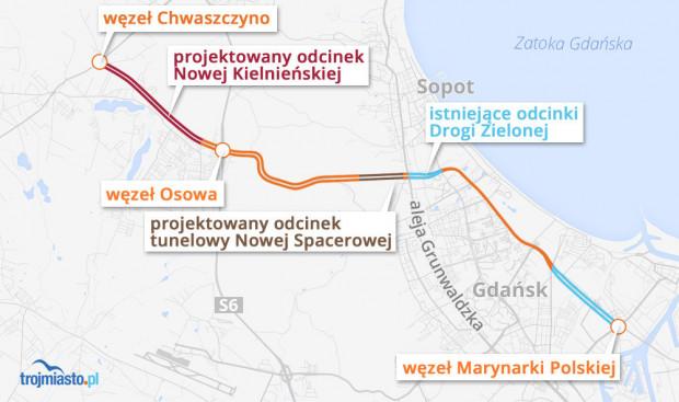 Planowany układ tzw. dużej ramy od obwodnicy metropolitalnej do tunelu pod Martwą Wisłą.