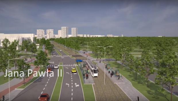 Skrzyżowanie Drogi Zielonej z al. Jana Pawła II na wizualizacji Biura Rozwoju Gdańska.