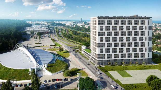 Wizualizacje pokazujące, jak będzie wyglądał budynek, udostępnione na stronie b1design - pracowni wykonującej wizualizacje 3D.