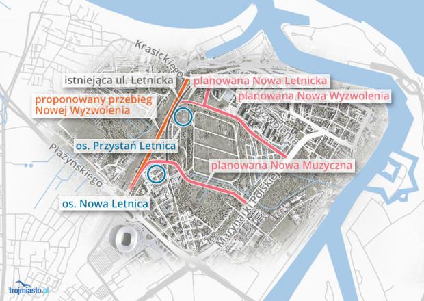 Pomarańczowym kolorem zaznaczyliśmy przebieg Nowej Wyzwolenia proponowany przez radnego. Różowy kolor to rozwiązanie, jakie chcą wdrożyć gdańscy urzędnicy.