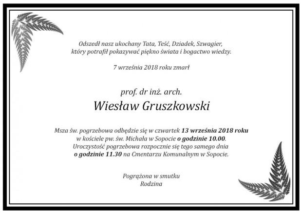Klepsydra przesłana do redakcji przez Jana Gruszkowskiego, syna zmarłego profesora.