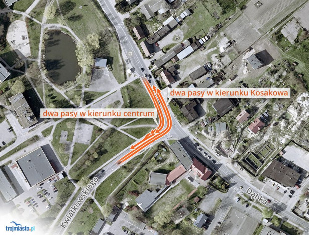 Prace nie zakładają poszerzenia ul. Kwiatkowskiego do dwóch pasów. Ma to nastąpić w nieokreślonej przyszłości.
