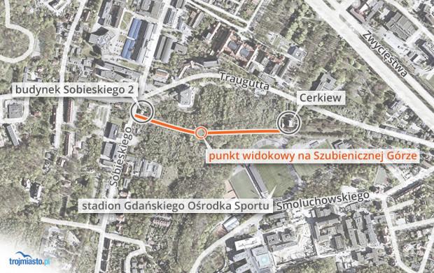 Do punktu widkowego najlepiej dojść od strony ul. Sobieskiego (ścieżka obok budynku przy ul. Sobieskiego 2) lub od strony cerkwii stojącej przy ul. Traugutta.