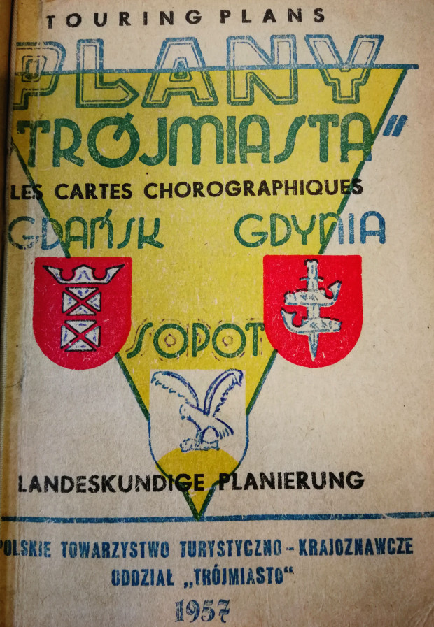 """Okładka jednego z pierwszych (być może pierwszego..?) kompletu map turystycznych """"Trójmiasta"""", 1957 r. (ze zbiorów PAN Biblioteki Gdańskiej)"""