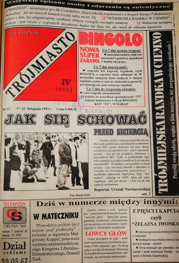 """Strona tytułowa jednego z numerów """"Tygodnika Trójmiasto"""" (ze zbiorów PAN Biblioteki Gdańskiej)"""