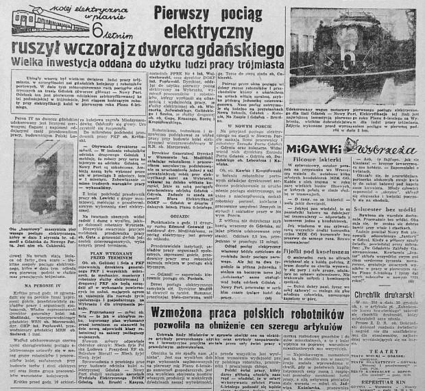 """Fragmenty artykułu z """"Dziennika Bałtyckiego"""" z 1 września 1951 r."""