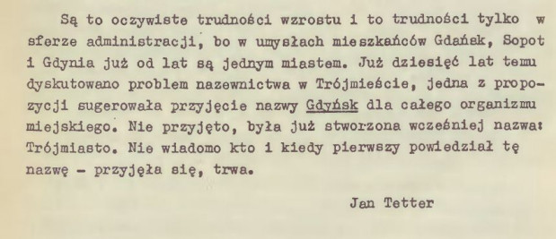"""Fragment tekstu Jana Tettera o nazwie """"Trójmiasto"""", opublikowanego w Informatorze Wojewódzkiego Domu Kultury w 1970 r."""