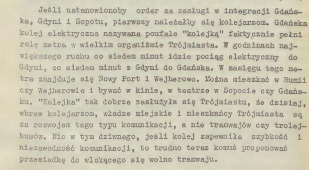 Fragment tekstu Jana Tettera o roli SKM w Trójmieście, I WDK, 1970 r.