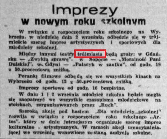 """Fragment artykułu z """"Dziennika Bałtyckiego"""" z 3 stycznia 1951 r."""