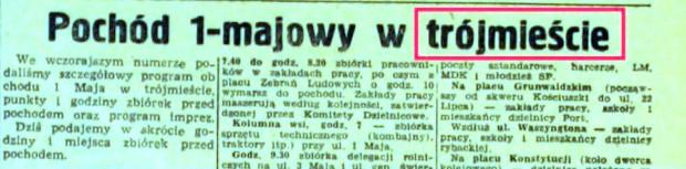 """Fragmenty artykułu z """"Dziennika Bałtyckiego"""" z 1 maja 1952 r."""
