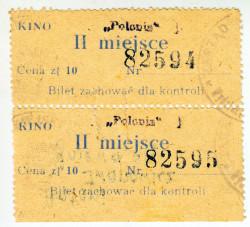"""Bilety do kina """"Polonia"""" w Oliwie, późniejszego """"Delfina"""". Dwie wejściówki na radziecki film """"Antoni Iwanowicz gniewa się"""" wyświetlony 5 grudnia 1945 roku."""