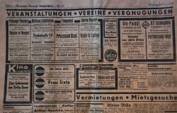 """Reklamy kin z gazety """"Danziger Neueste Nachrichten"""" z 27 lipca 1939 roku."""