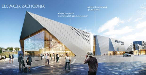 Jak zapewniają architekci, bryła całego kompleksu została tak przemyślana, by nie rywalizować z elewacją Stadionu Energa Gdańsk.