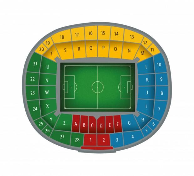 Oznaczenie sektorów na Stadionie Energa Gdańsk podczas meczów Lechii.