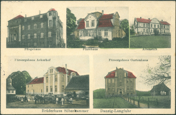 Pocztówka prezentująca zabudowania zakładu opiekuńczo-wychowawczego prowadzonego przez Bractwo Soar, między 1907 a 1913 r. Ze zbiorów Krzysztofa Gryndera.