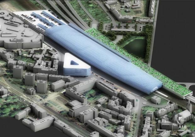 Futurystyczna i nigdy nie zrealizowana wizja dworca kolejowego we Wrzeszczu została zaprezentowana ok. 2010 r.