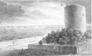 O blizie, czyli dawnej latarni znajdującej się wówczas przy ujściu Wisły do morza w dzisiejszym Nowym Porcie tak pisał Daniel Chodowiecki: W oddali ujrzałem latarnię morską znacznej wysokości, płasko zakończoną i stosunkowo szeroką. Budowla ceglana i otynkowana. Na latarni umieszczony żelazny żuraw. Latarnia otoczona palisadowym płotem i drzewami, stoi na niewielkim wzniesieniu. Wszystko to razem jest przyjemnym widokiem.