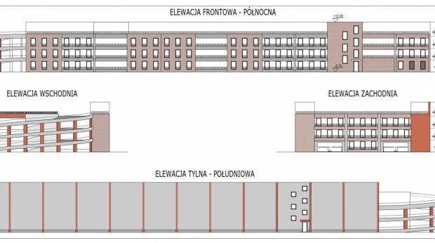 Projekt elewacji nowego parkingu. Elewacja frontowa - od strony ul. Długie Ogrody, wschodnia - (Węzeł) Brama Żuławska, zachodnia - ul. Reduta Żbik, południowa - zaplecze/Podwale Przedmiejskie.