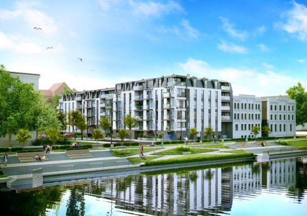 Riverfront Apartments przy Kamiennej Grobli. Powstają tu 82 apartamenty i dwupoziomowa hala garażowa.