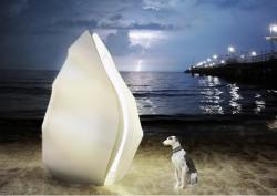 Na plaży staną z kolei przenośne toalety w kształcie muszli.