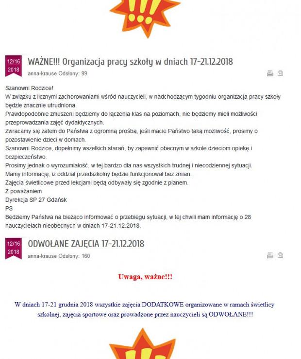 Informacja ze strony internetowej SP 27 na ul. Srebrniki.