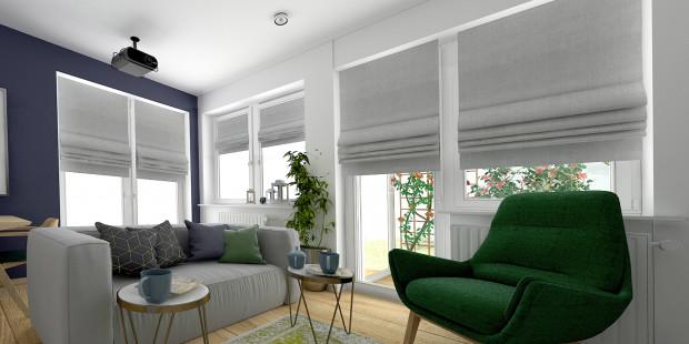 Koncepcja pierwsza. Duża ilość okien do podłogi sprawia, że wnętrze jest jasne, pełne przestrzeni. Pojawia się jednak pytanie: gdzie ustawić kanapę albo regał na książki?