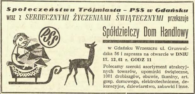 Reklama Spółdzielczego Domu Handlowego opublikowana w Dzienniku Bałtyckim 15 grudnia 1961 roku.