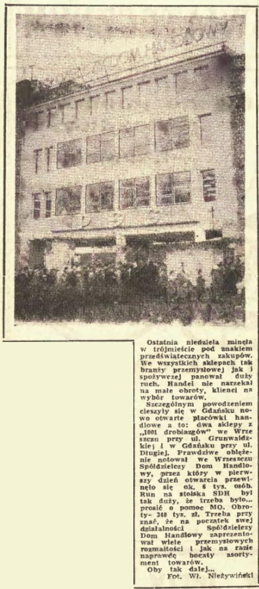 Informacja o otwarciu Spółdzielczego Domu Handlowego w Dzienniku Bałtyckim z 19 grudnia 1961 roku.