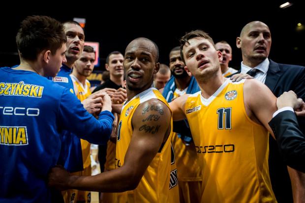 Koszykarze Arki Gdynia cieszący się z kolejnego zwycięstwa w Energa Basket Lidze.