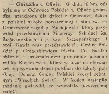 """Wycinek z """"Gazety Gdańskiej"""" z 23 grudnia 1930 r. na temat zorganizowanego w Oliwie spotkania bożonarodzeniowego tamtejszej Polonii. Za: Pomorska Biblioteka Cyfrowa."""