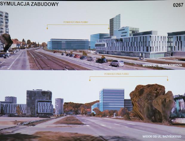 Wizualizacja formy zabudowy terenów UG przy ul. Bażyńskiego.