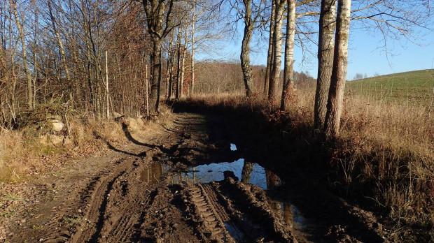 Zaniedbana droga gminna z Piekła Górnego do Gromadzina
