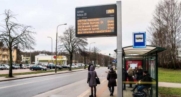 Część tablic już działa. Na zdjęciu przystanek przy ul. Rolniczej na Witominie.