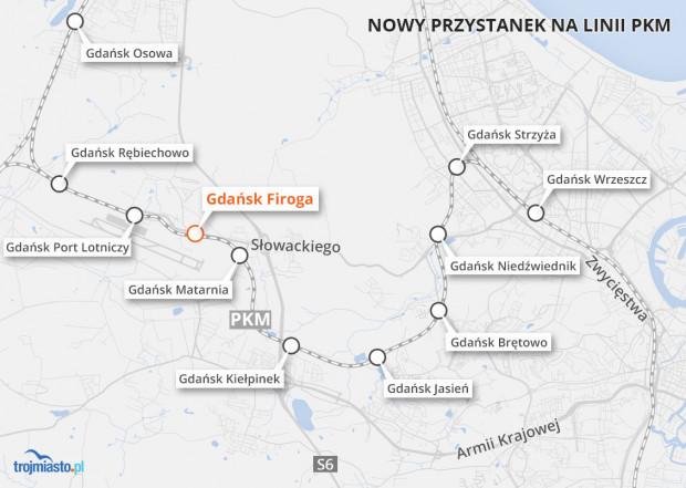 Planowany przystanek Firoga na linii PKM.